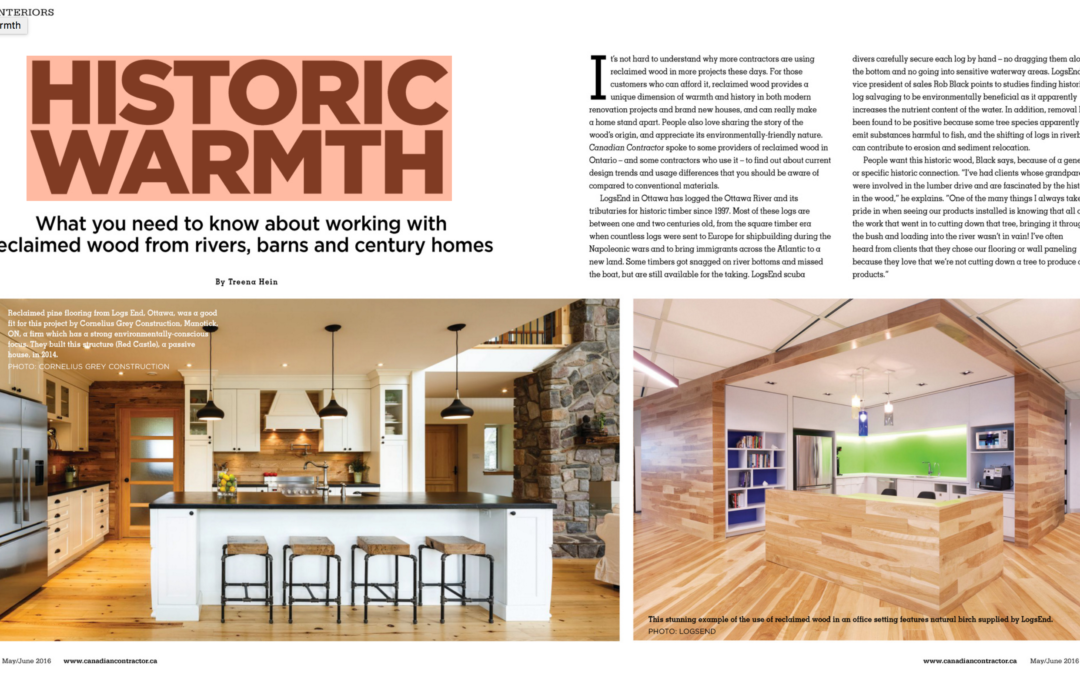 Canadian Contactor Magazine Explores Reclaimed Wood