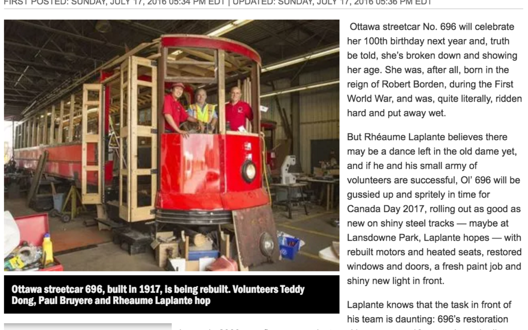 Ottawa's Streetcar 696 Closer to Life