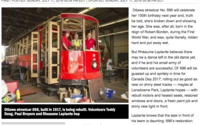 Ottawa's Streetcar 696 Closer to Life