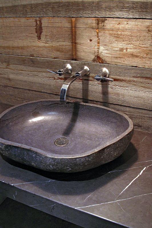 barnboard wall in bathroom