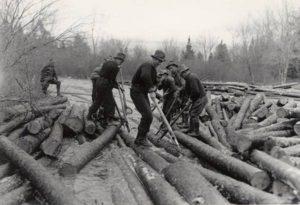 winter log drives canada