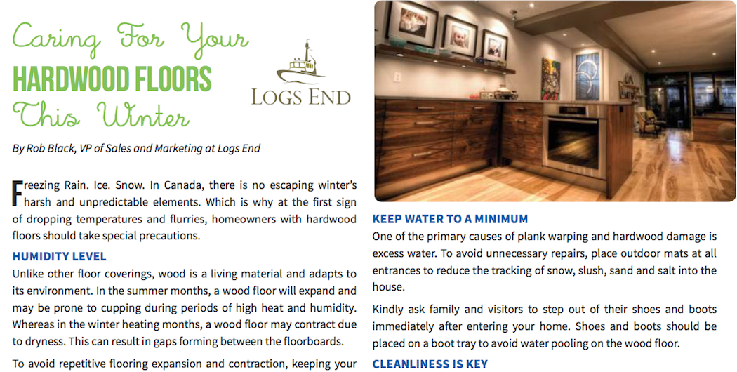 Logs End Hardwood Flooring Care Tips in Ottawa Magazine