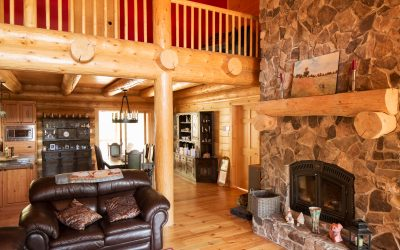 Logs End Reclaimed Pine in Tackaberry Log Home in Munster, Ontario