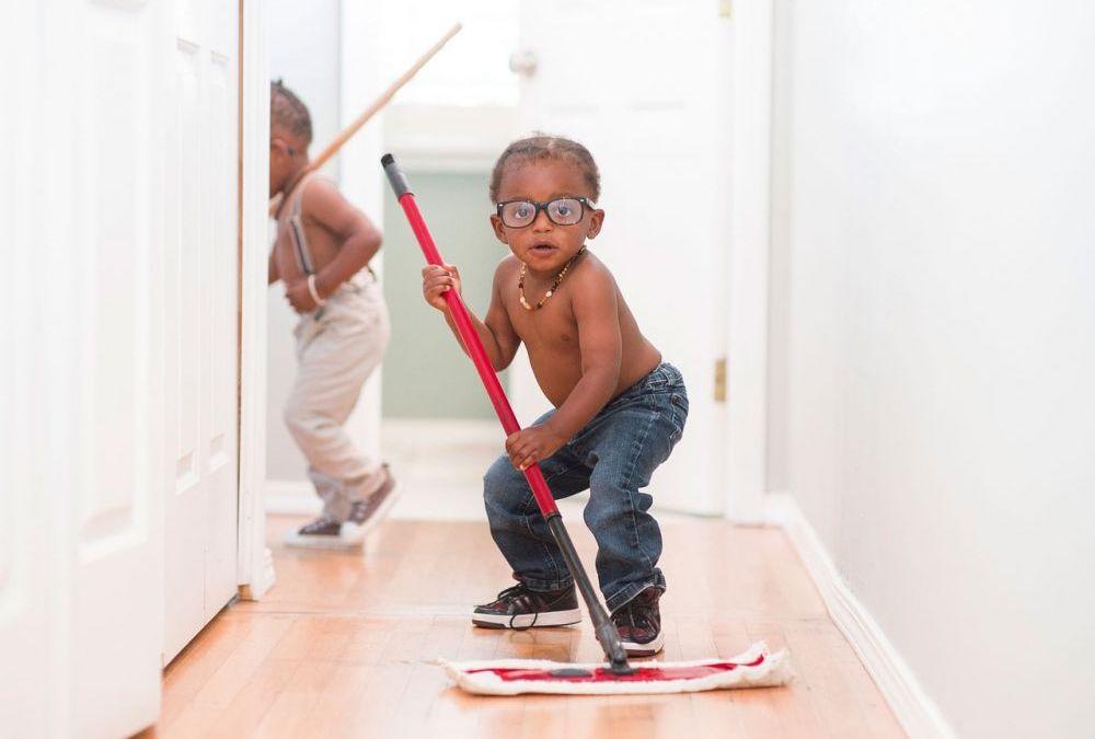Kids Cleaning Wood Floors