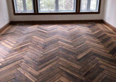 Logs End River Reclaimed Pine Herringbone Pattern in Bristol Stain