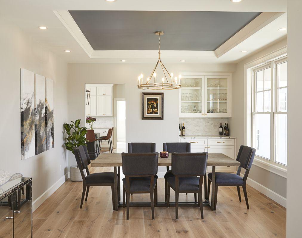 Formal Dining Room with Logs End Hardwood Flooring