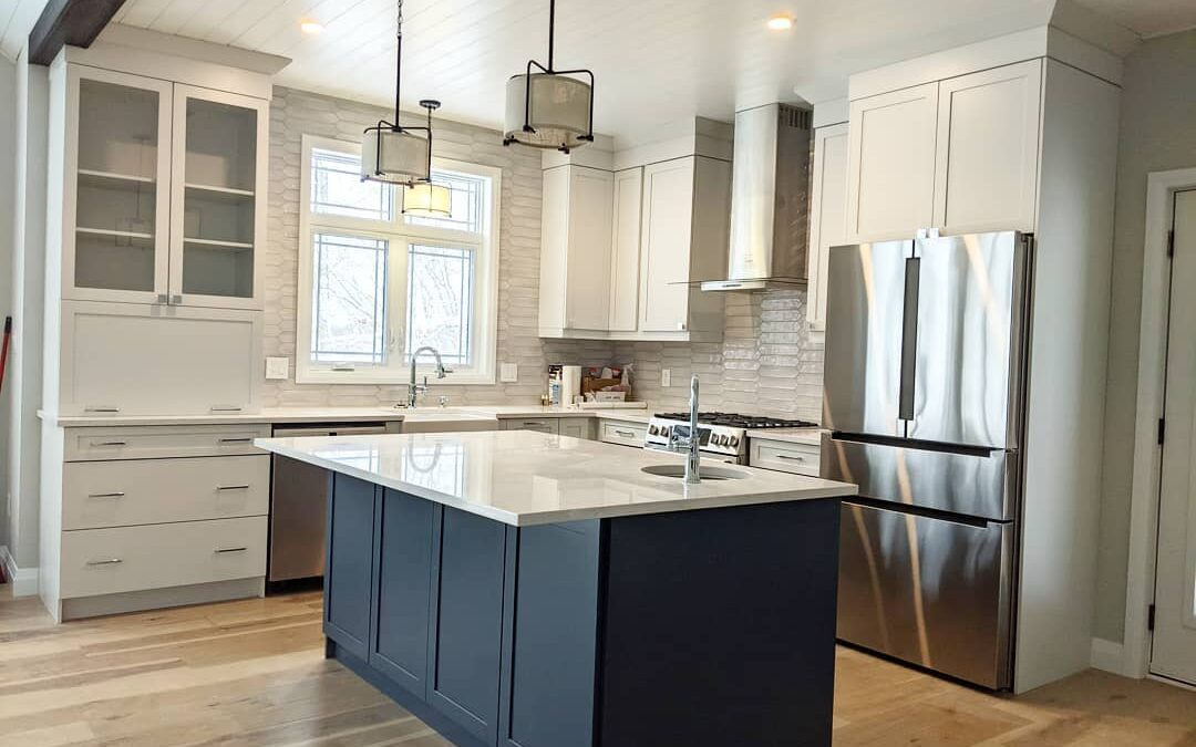 kitchen with hickory flooring